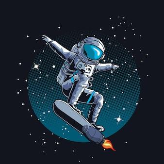 Astronaut skate in de ruimte