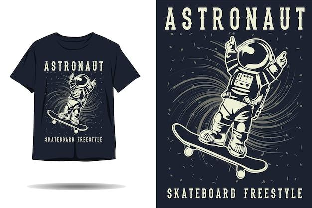 Astronaut skateboard freestyle silhouet tshirt ontwerp