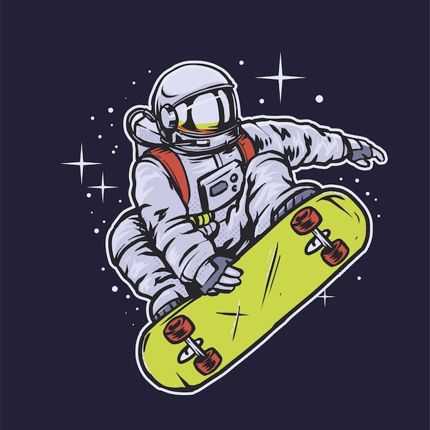Astronaut skateboarden in de ruimte