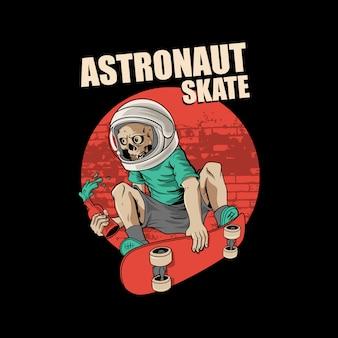 Astronaut skateboarden