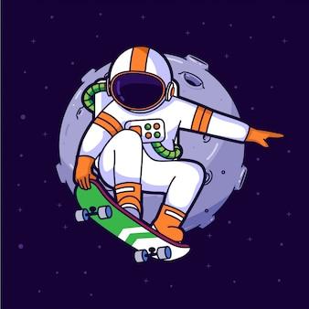 Astronaut skater in de ruimte