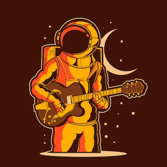 Astronaut speelt gitaar illustratie