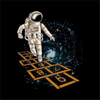 Astronaut speelt klassiek kinderspel