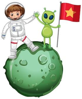 Astronaut staat op een planeet en houdt vlag vast