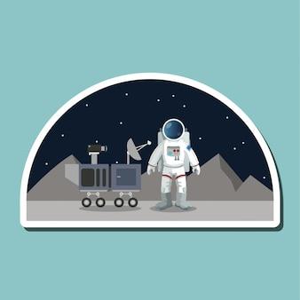 Astronaut teken. ruimteconcept. kosmos, vectorillustratie