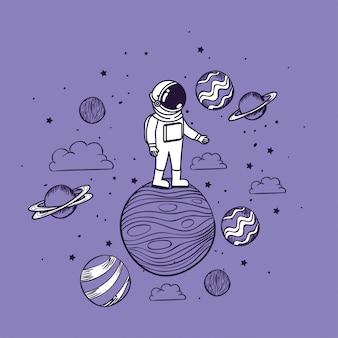 Astronaut tekent met planeten