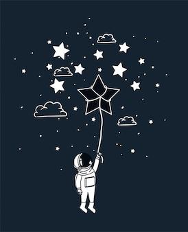 Astronaut tekent met ster