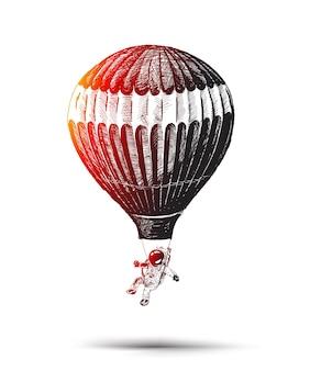 Astronaut vliegen in een hete ballon hand getrokken schets vectorillustratie