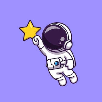 Astronaut vliegt en houdt ster vast