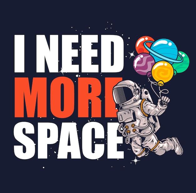 Astronaut vliegt in de ruimte met ballons