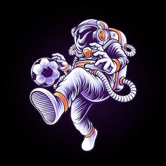 Astronaut voetballer illustratie