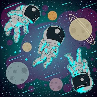 Astronaut volledige kleur drie pose