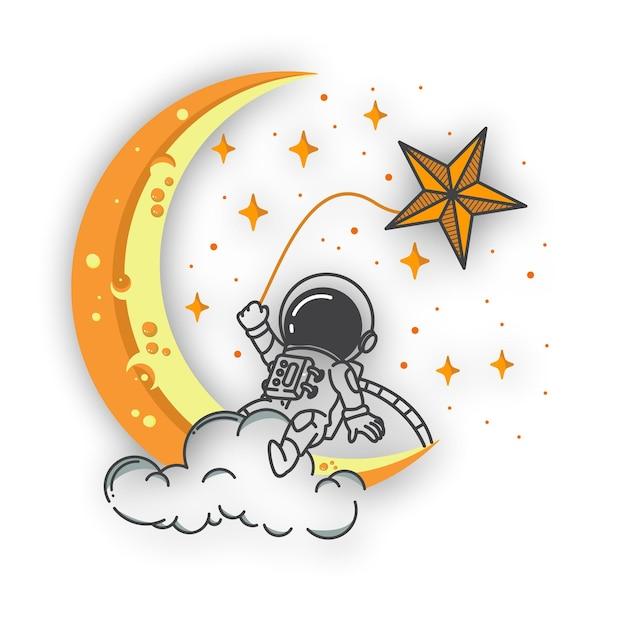 Astronaut zittend op wolk rond ster en maan