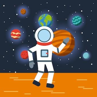 Astronaut zonnestelsel plat