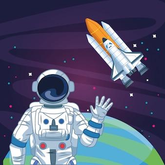 Astronaut zwaaien hand ruimtevaartuig planeet ruimte verkenning