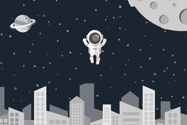 Astronaut zweven in de ruimte stad Premium Vector