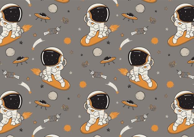 Astronauten die het patroon van de kosmische ruimte surfen