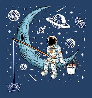 Astronauten die op de maanillustratie vissen