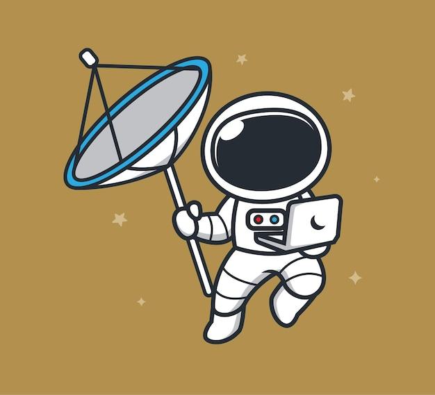 Astronauten dragen satellieten in de ruimte