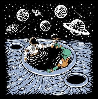 Astronauten en aliens die samen bier drinken