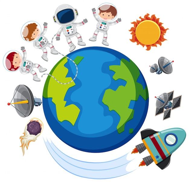 Astronauten en ruimteschip over de hele wereld