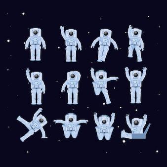 Astronauten in de ruimtekarakters
