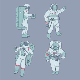 Astronauten in ruimtepakken. ruimtevaarders, kosmonauten met ruimteapparatuur cartoon illustratie.