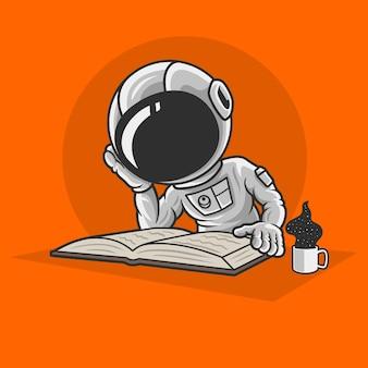 Astronauten lezen van boeken Premium Vector