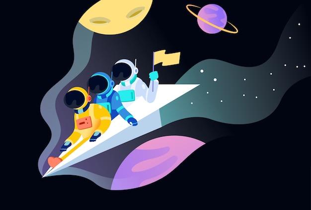 Astronauten op papier vliegtuig schepen illustratie concept