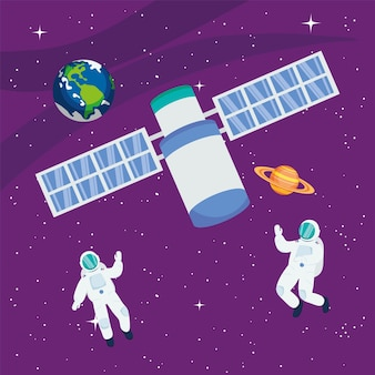 Astronauten satelliet aarde en saturnus in de ruimte van het universum