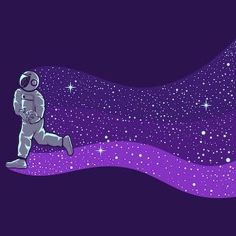 Astronauten spelen basketbal geïsoleerd in paars