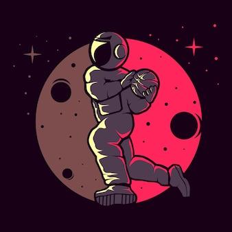 Astronauten spelen grappig basketbal