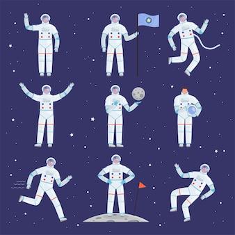 Astronauten tekens. spaceman-mensen in actie vormen een algemeen professioneel kledingpak