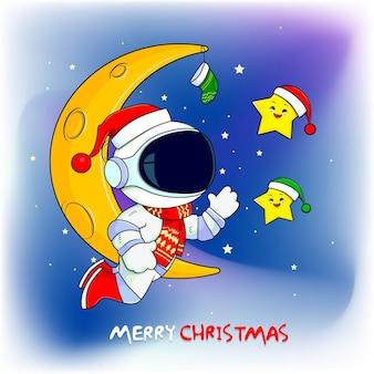 Astronauten verheugen zich met een ster die kerstattributen draagt in de ruimte vector premium