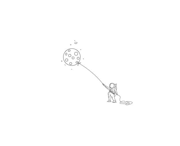 Astronauten vliegen ballon met vlieger stijl, platte lijn art vector design illustratie.