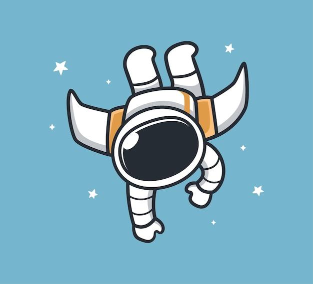 Astronauten vliegen met straalvleugels