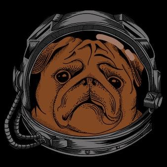 Astronautenhondontwerp met zwarte achtergrond