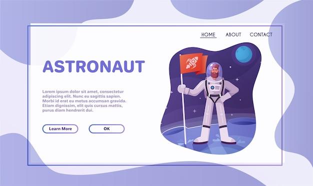 Astronautenkarakter dat de ruimte onderzoekt. futuristische kosmonaut in ruimtepak lopen en vliegen. cartoon vector illustratie.