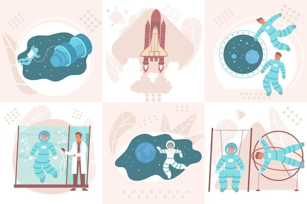 Astronautontwerpconcept met vierkante composities van mensen tijdens zwaartekrachtbelasting en gewichtloosheidstraining met ruimtevaartuigillustratie