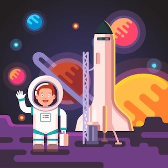 Astronautse jongen landde op een maan of een buitenaardse planeet