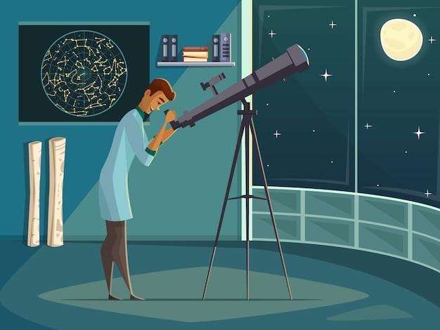 Astronomenwetenschapper die maan in nachthemel waarnemen door open venster