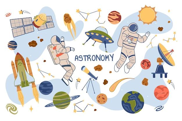 Astronomie concept geïsoleerde elementen set