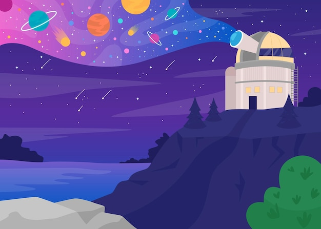 Astronomisch observatorium egale kleur illustratie