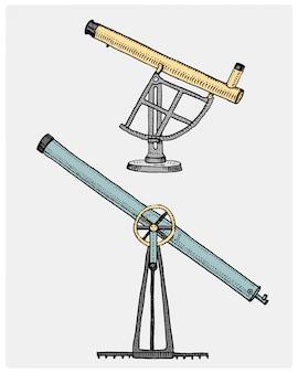 Astronomische telescoop, vintage, gegraveerd hand getekend in schets of houtsnede stijl, oud ogende retro scinetific instrument voor het verkennen en ontdekken
