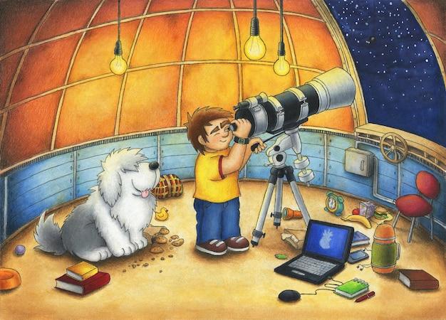 Astronoom bij het observatorium verkent de nachtelijke hemel met een telescoop