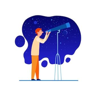 Astronoom met telescoop bij het pictogram van de nachthemel. cartoon van astronoom met telescoop bij nachtelijke hemel vector pictogram voor webdesign geïsoleerd op een witte achtergrond