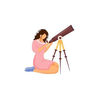 Astronoom met telescoop plat ontwerp kleur gezichtsloos karakter