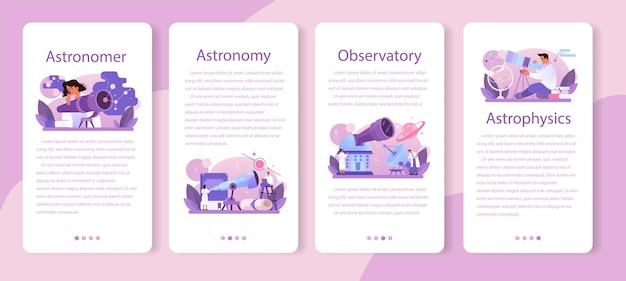 Astronoom mobiele applicatie banner set. professionele wetenschapper die door een telescoop naar de sterren in het observatorium kijkt. astronomisch onderzoek. astrofysicus studie sterren kaart. platte vectorillustratie