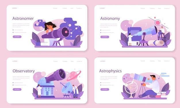 Astronoom webbanner of bestemmingspagina set. professionele wetenschapper