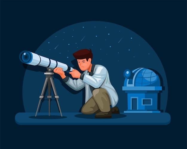 Astronoom wetenschapper die de illustratie van het telescoopconcept in beeldverhaalvector gebruikt